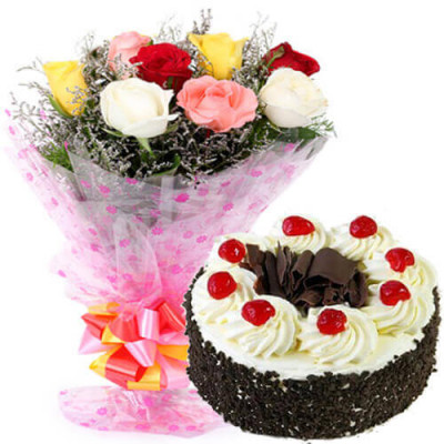 mix roses bunch with black forest cake