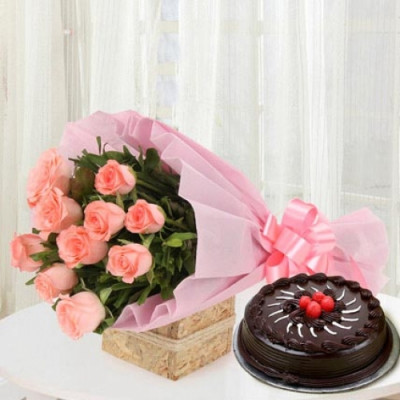 Pink Roses with Cake