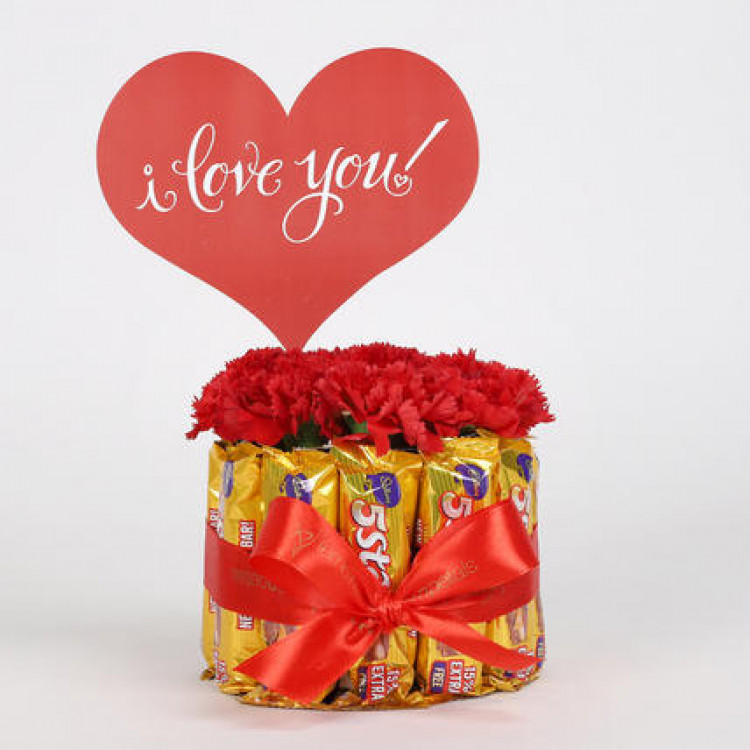 Carnations & 5 Star Chocolate Bouquet