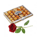 16 Pcs Ferrero Rocher Chocolate Box with single red rose