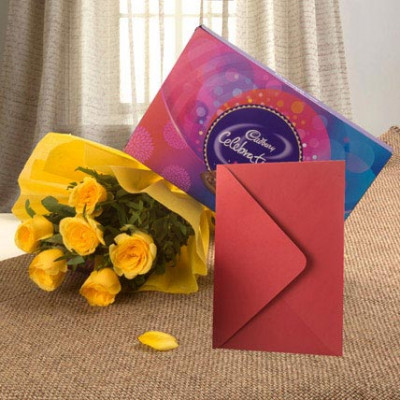 Flower Hamper N Greeting Card