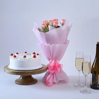 Elegant Wishes 6 Pink Roses with Cake