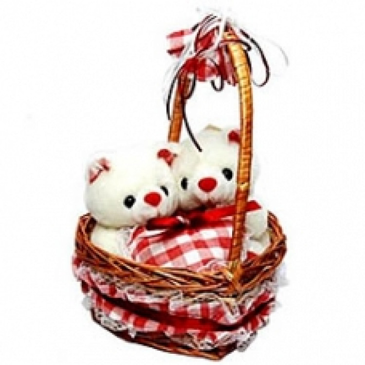 Couple Bear In Heart Shape LoveBasket (12 inches)