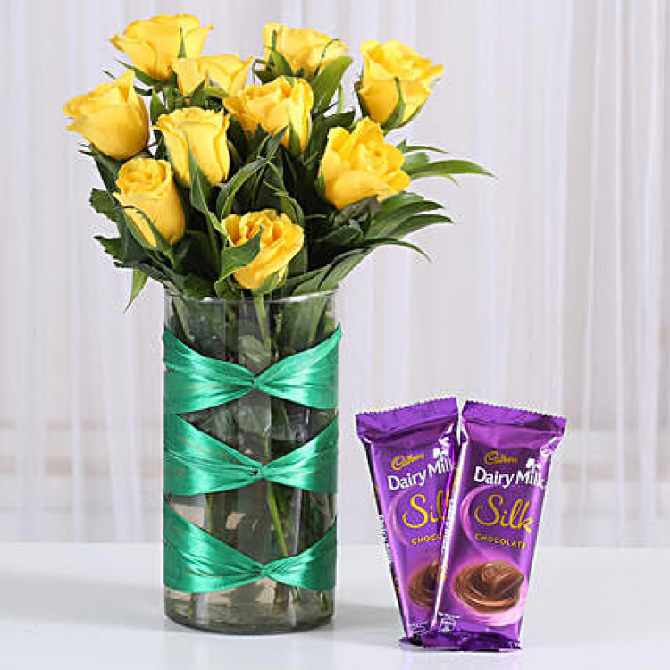 Yellow Roses Vase & Dairy Milk Silk Combo