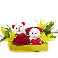 You & Me- Teddy Bear with Roses & Lilies
